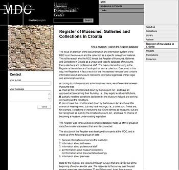 Register of Museums, Galleries and Collections in Croatia