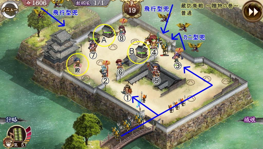 城娘配置例と敵の侵攻パターン