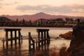 京都新聞写真コンテスト 夕暮れの渡月橋と比叡山