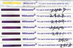 『化学的インジケータ』  MELAcontrol PCD-Testset合格  ISO11140-1 Class6 Chemical Indicator S-134-18、Steam-Prion