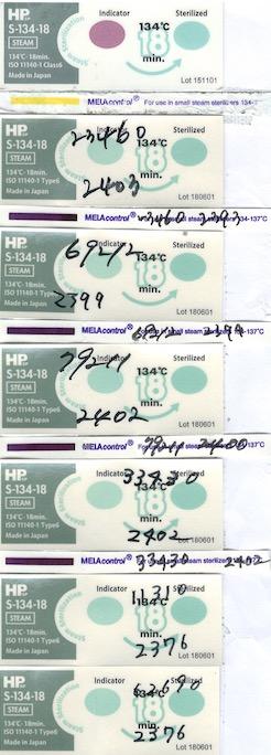 日油技研工業 ISO11140-1 Class6 Chemical Indicator S-134-18、Steam-Prion(5枚85円)  ※微細中空構造であるタービン、エンジン、超音波ヘッド 合格  MELAcontrol PCD-Testset ISO11140-1 Class6 Chemical Indicator S-134-18、Steam-Prion(4枚465円)