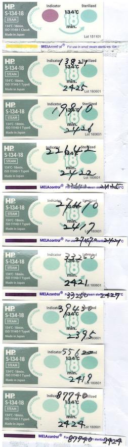 日油技研工業 ISO11140-1 Class6 Chemical Indicator S-134-18、Steam-Prion ※微細中空構造であるタービン、エンジン、超音波ヘッド 合格  MELAcontrol PCD-Testset ISO11140-1 Class6 Chemical Indicator S-134-18、Steam-Prion