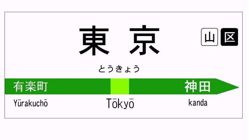 山手線内回り 東京4番線ホーム駅名板 イラスト
