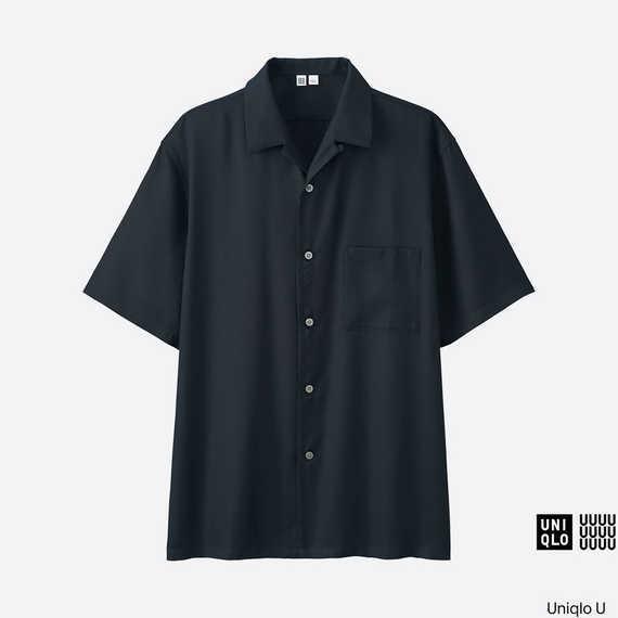 【ユニクロU】MEN オープンカラーシャツ(半袖)ネイビーの写真