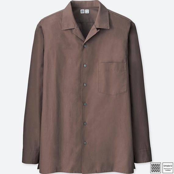 オープンカラーシャツ(長袖)+E ユニクロU