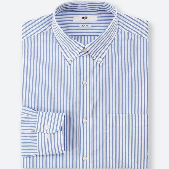 ファインクロスストレッチスリムフィットストライプシャツ(長袖)+ ユニクロ ビジネスカジュアル