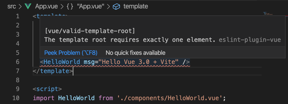 vue/valid-template-root by Vetur