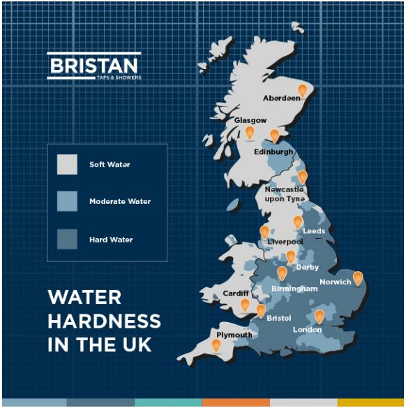 イギリス硬水分布のイメージ