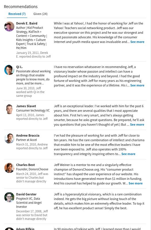 LinkedIn推薦のイメージ