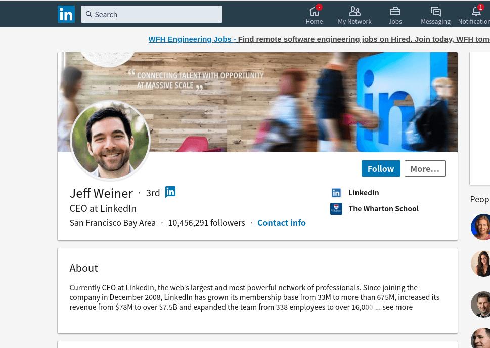 LinkedInプロフィールのイメージ