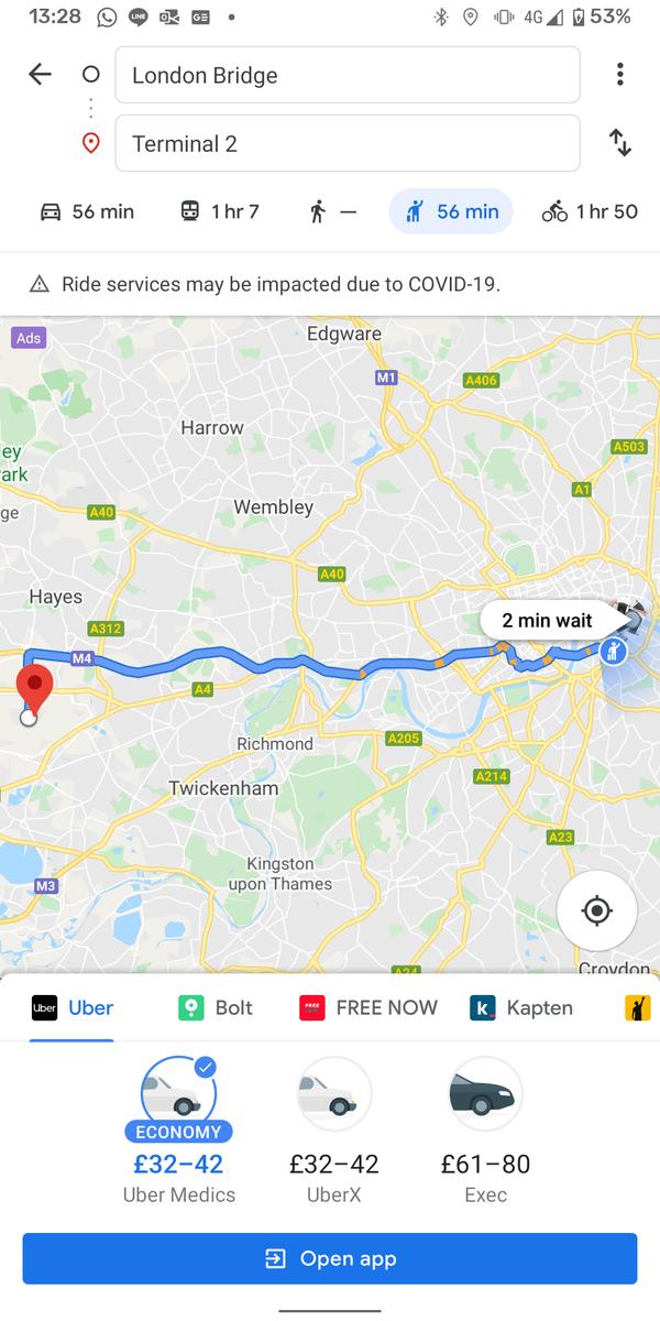 GoogleマップUberのイメージ