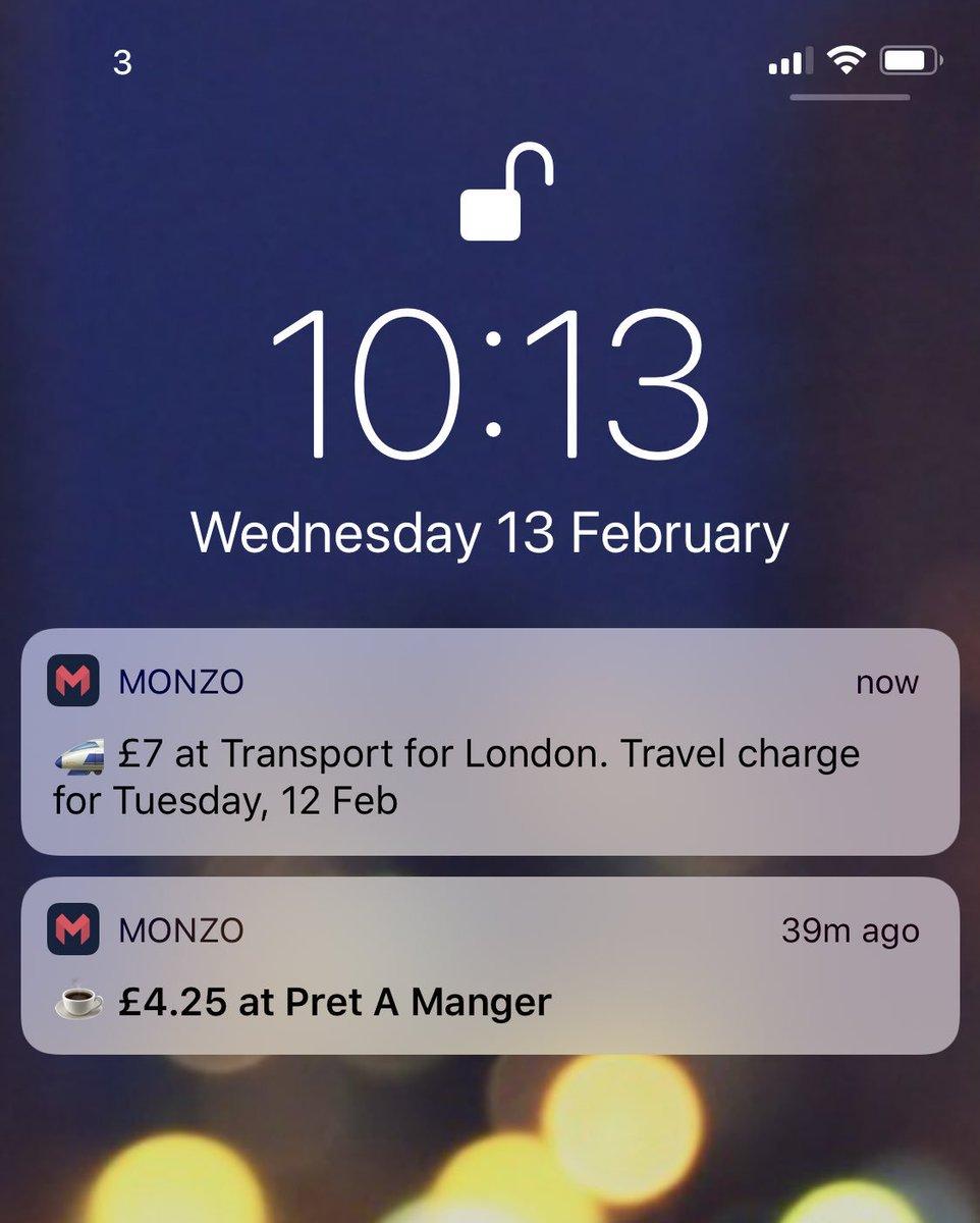 Monzo(モンゾー)通知のイメージ