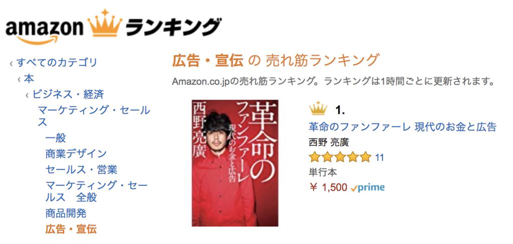 『革命のファンファーレ』Amazonのカテゴリーも「広告・宣伝」に分類