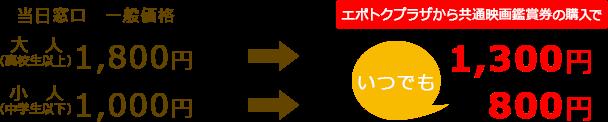【ユナイテッド・シネマ】当日料金「大人1300円」キャンペーン