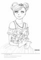 ドレスの少女20120423[ぬりえ][ドレス][少女][Line drawing]