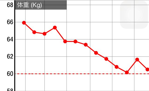 ダイエットしたときの体重のグラフ