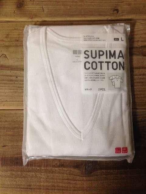 ユニクロのインナースーピマコットンフライスVネックTシャツ