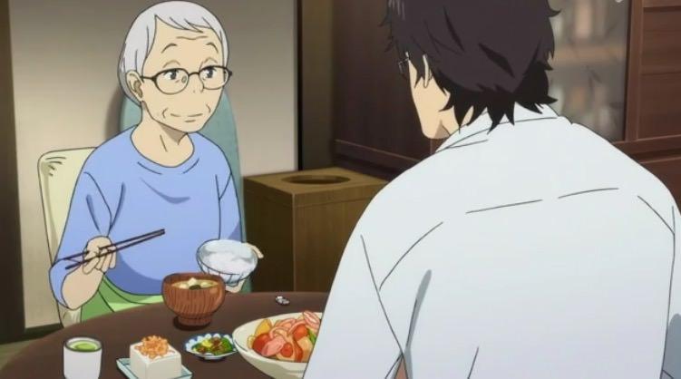 アニメ「舟を編む」馬締と大家さんの夕食