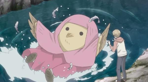 アニメ「夏目友人帳伍」六話より、魚を獲る鳥の妖怪