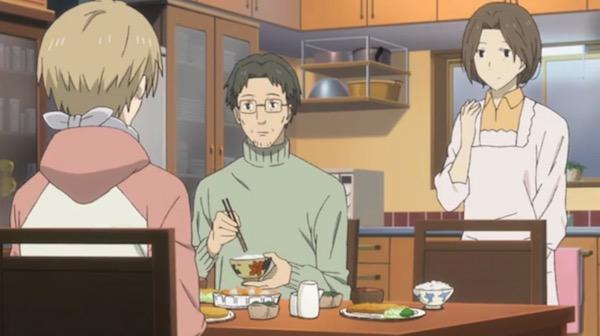 アニメ「夏目友人帳伍」六話より、藤原家の食卓とネギ湿布