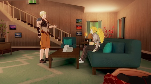 アニメ「RWBY(ルビー)Volume 4」第3話、アトラス製の義手を持ち帰るタイヤン