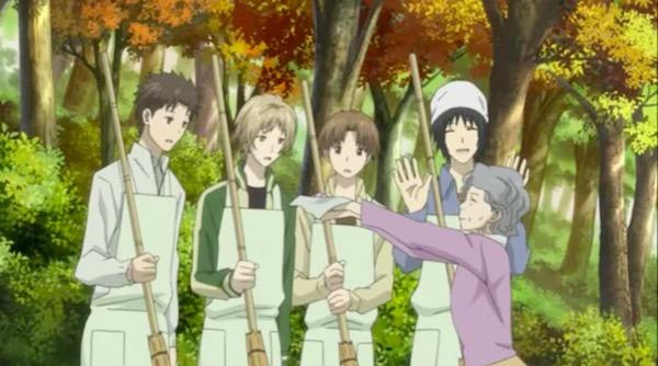 アニメ「夏目友人帳 伍」第七話より、夏目たちに飴をくれるイトさん