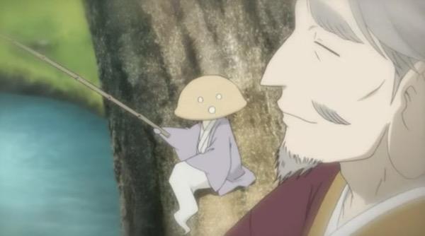 アニメ「夏目友人帳 伍」第九話険しきをゆくより、釣りをする朱遠と三ツ皿