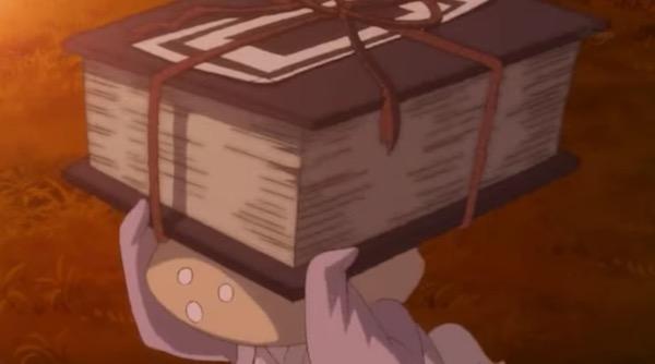 アニメ「夏目友人帳 伍」第九話険しきをゆくより、修行内容のリストを渡されるしいたけ妖怪