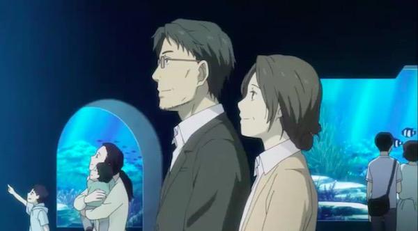 アニメ「夏目友人帳 伍」第十話より、水族館へ来た塔子と滋