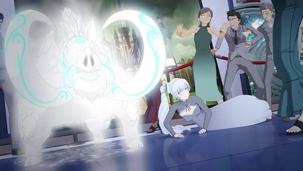 アニメ「RWBY(ルビー)Volume 4」第6話より、ワイスの誤召喚