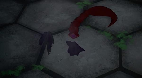 アニメ「RWBY(ルビー)Volume 4」7話より、切断されたティリアンの尻尾