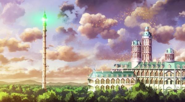 TVアニメ「リトルウィッチアカデミア」2話より、ルーナノヴァ魔法学校外観