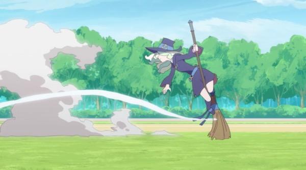 アニメ「リトルウィッチアカデミア」3話より、ダイアナの飛行技術