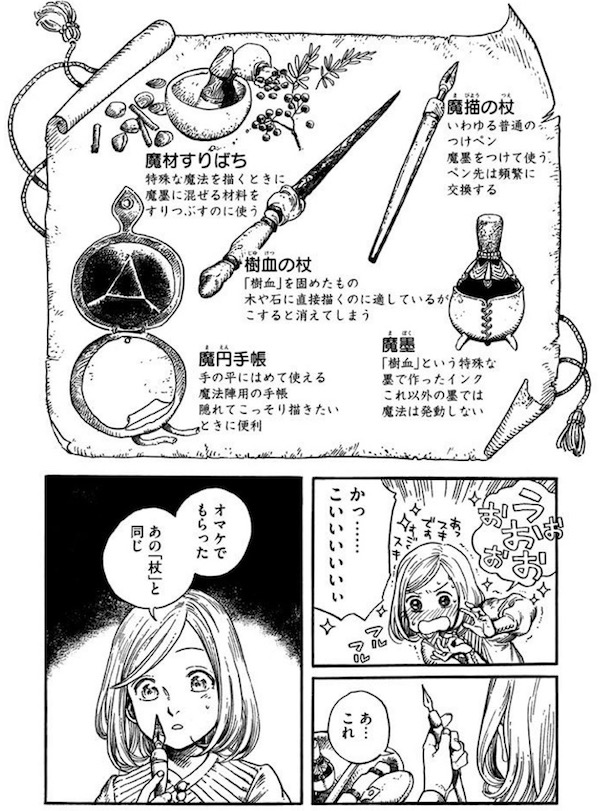 漫画「とんがり帽子のアトリエ」(白浜鴎)1巻より、ココの魔法道具