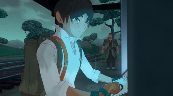 アニメ「RWBY(ルビー)Volume 4」10話より、ミストラルへ向かうオスカー