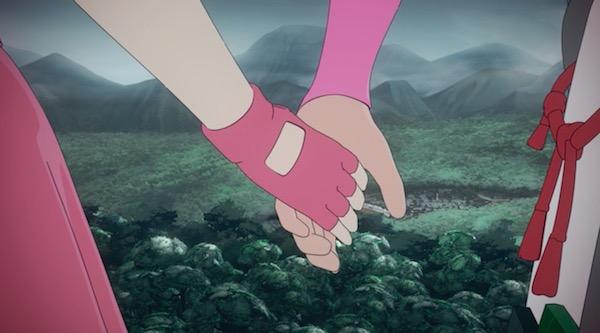 アニメ「RWBY(ルビー)Volume 4」10話より、手をつなぐレンとノーラ