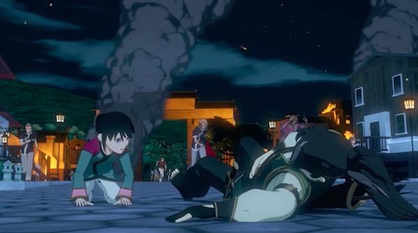 アニメ「RWBY(ルビー)Volume 4」10話より、グリムに襲われたクロユリの村