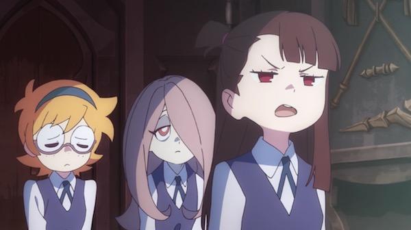 TVアニメ「リトルウィッチアカデミア」4話より、つまみ食いで叱られるアッコたち