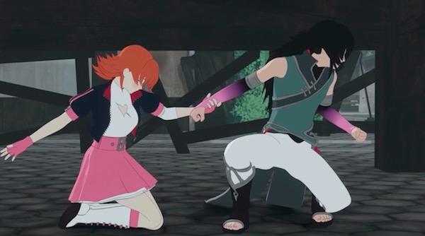 アニメ「RWBY(ルビー)Volume 4」第12話より、床下でのレンとノーラ