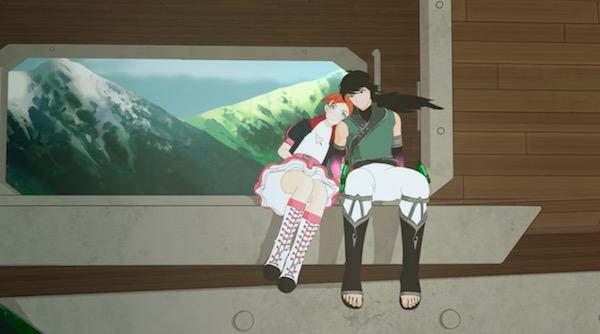 アニメ「RWBY(ルビー)Volume 4」第12話より、レンにもたれるノーラ