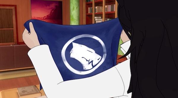 アニメ「RWBY(ルビー)Volume 4」第12話より、ブレイクとホワイト・ファングの旗