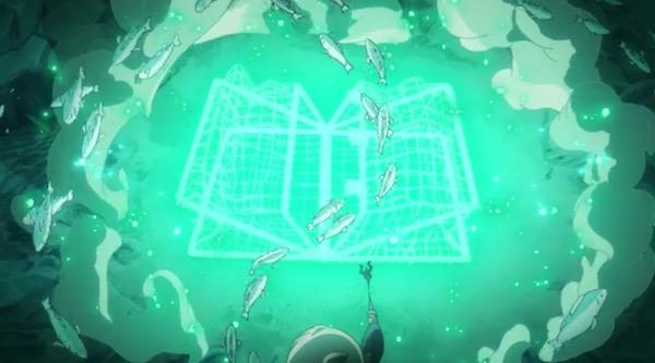 TVアニメ「リトルウィッチアカデミア」7話より、湖で絶滅危惧種の魚達を助ける
