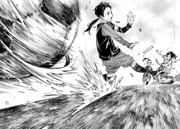「さよなら私のクラマー」(新川直司)14話より、恩田希のシュート