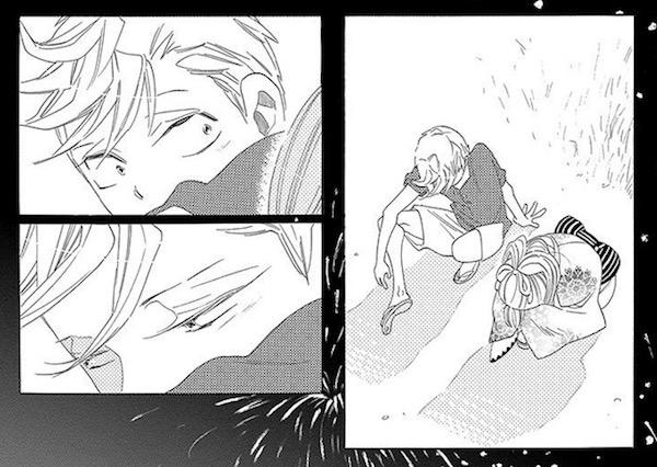 「君曜日 ─鉄道少女漫画2─」 (中村明日美子)より、花火大会の小平と持田