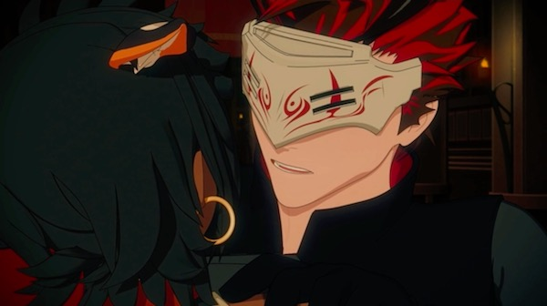 """「RWBY(ルビー)Volume 5」第2話""""Dread in the Air""""より、シエナを屠るアダム"""