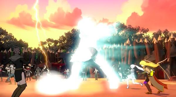 「RWBY(ルビー)Volume 5」第4話より、盗賊と戦うヤンとワイス