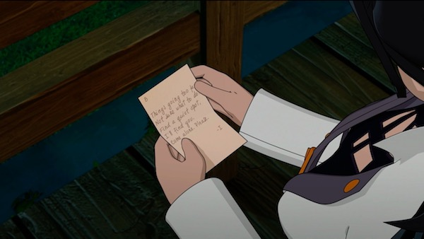 """「RWBY(ルビー)Volume 5」第7話 """"Alone Together""""より、イリアからのメモ"""