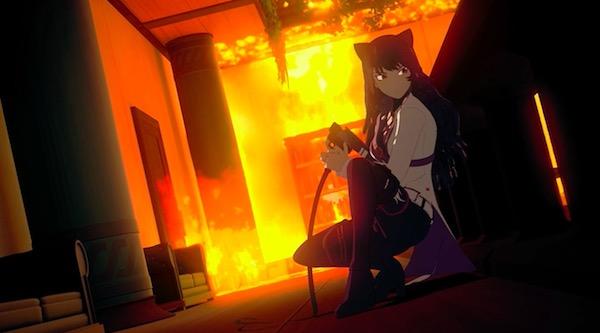 「RWBY(ルビー)Volume 5」第10話より、屋敷に火を放つブレイク