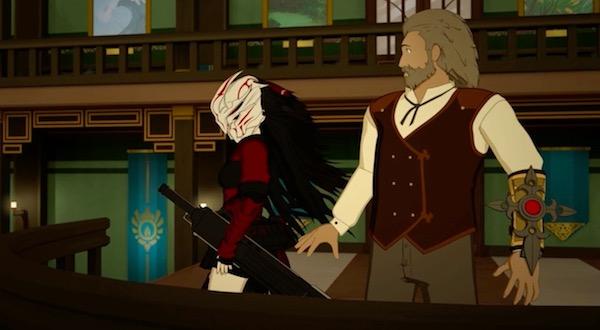 「RWBY(ルビー)Volume 5」第11話より、ライオンハート学長の後ろからレイヴンが登場