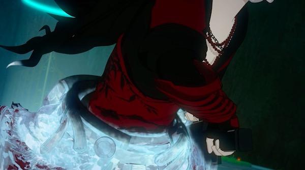「RWBY(ルビー)Volume 5」第12話より、シンダーに凍結されるレイヴン